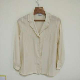 日本古著 米白色荷葉領襯衫 低領襯衫 日本製