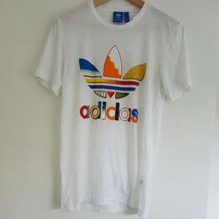 Adidas Trefoil White Tee Xs Multi Colour Logo