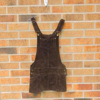 Brown Corduroy Pinafore Dress