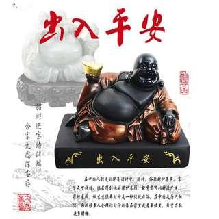 ~子甄彣璟~彌勒佛 活性炭雕佛像汽車擺件 活性炭雕刻藝術品 布袋和尚 笑佛 彌勒菩薩 大肚彌勒 財神