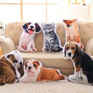 創意3D狗狗抱枕 / 動物辦公室靠墊 / 汽車沙發床頭靠枕腰靠墊 / 兒童寶寶枕