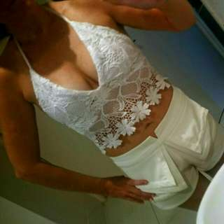 Lace Mid Drift Halter Top. Clip Backing, Lined Bust. Size Small. New. $15