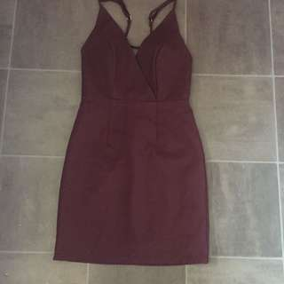 Beautiful Fitted Maroon Cocktail Dress