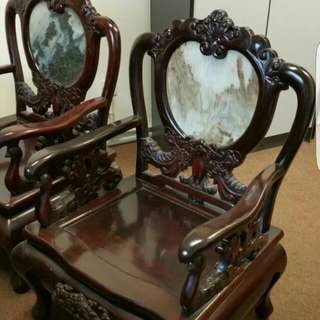 Chinese Mother Of Pearl Antique Chairs