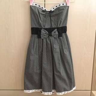 Black Polka Dot Strapless Dress