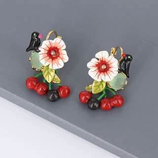Les Nereides Bird And Cherry Earrings