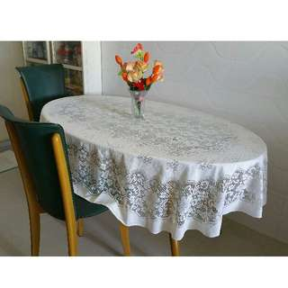 "Off white lace table cloth measuring 210cm x 150cm /82.6"" x 59"" $10."