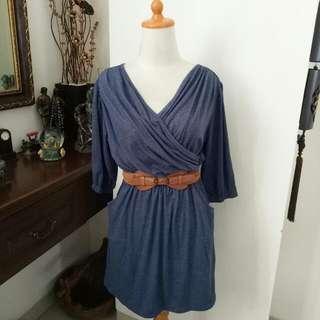 Basic Blue Kimono Dress (BELT INCLUDED)