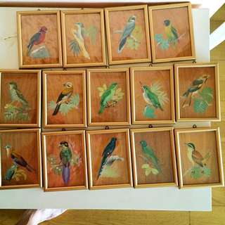 Hand-Painted Pictures Of Birds (14 Pieces)