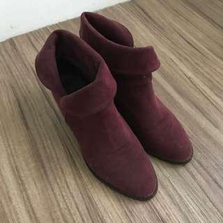 正韓反摺挺版酒紅靴子24號