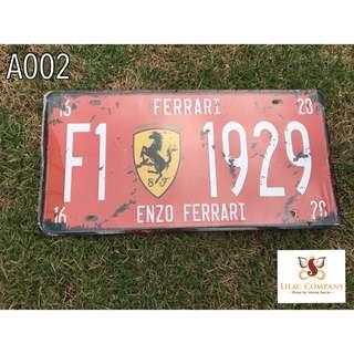 F1 1929 Vintage Metal Sign