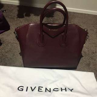 Authentic Givenchy Antigona In Burgundy Colour