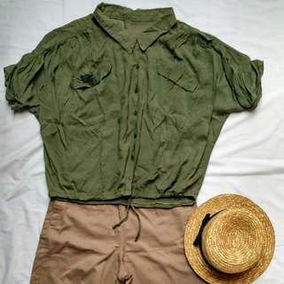 Green Army Loose Shirt