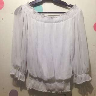 XOXO White Chiffon Off-Shoulder Top