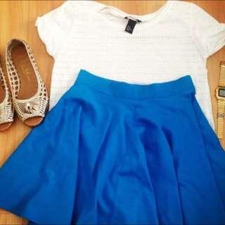 Neon Blue Skater Skirt