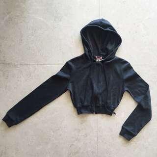 Supre Dark Grey Marle Hooded Hoody Crop Jacket Sports Dance XXS