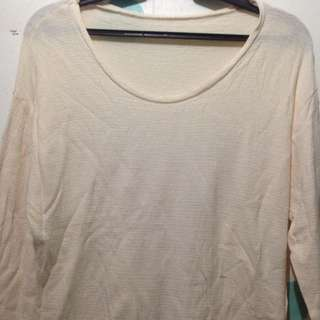 Cream Pullover Long-sleeved Shirt