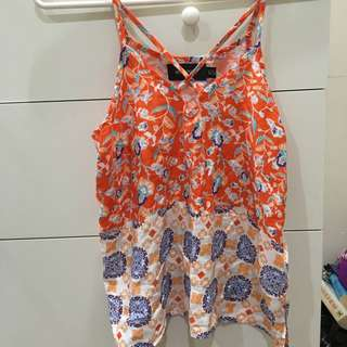 Minkpink XS Orange Pattern Singlet