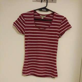 Red & White Stripe T-shirt Size 8