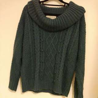 Dark Teal Knit Sweater from Japan