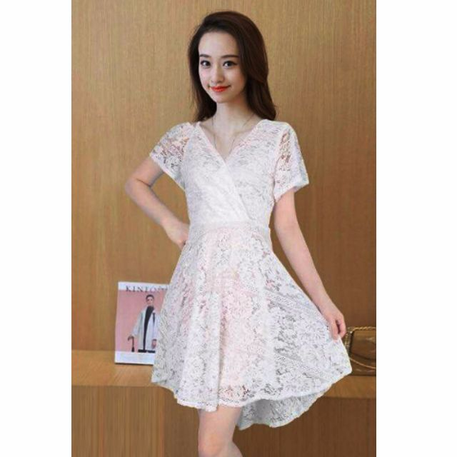 732783fadf73f 554 One Cold Shoulder Korean Asymmetric Lace Dress (White) on Carousell