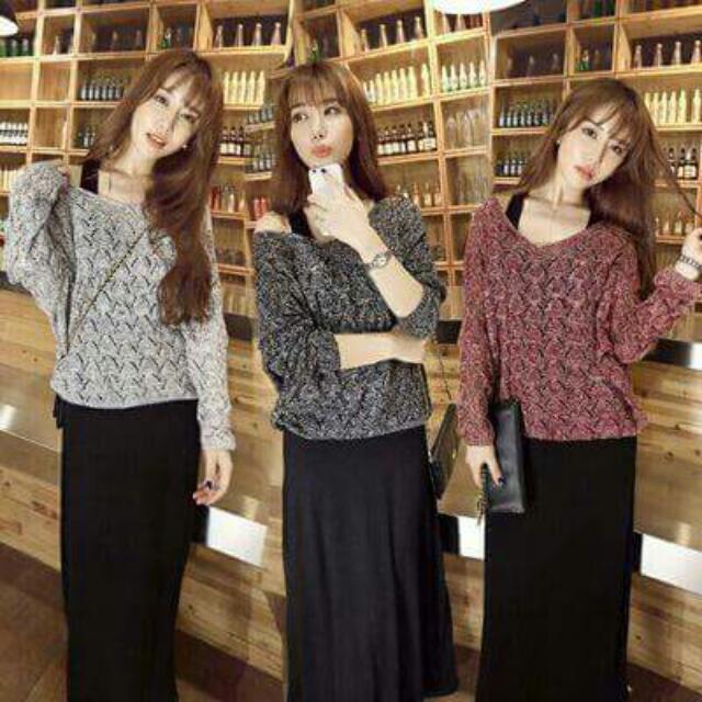 韓版針織衫+連衣裙套裝