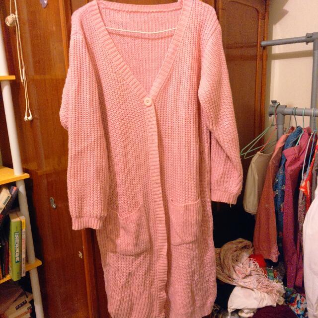 粉紅針織長外套