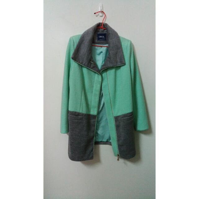 薄荷綠雙色大衣外套 #我的女裝可超取