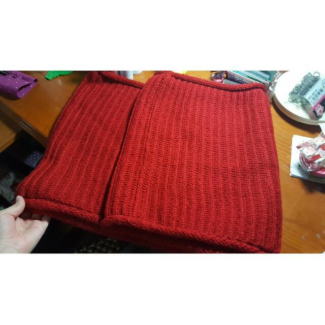 大紅針織圍巾/圍脖