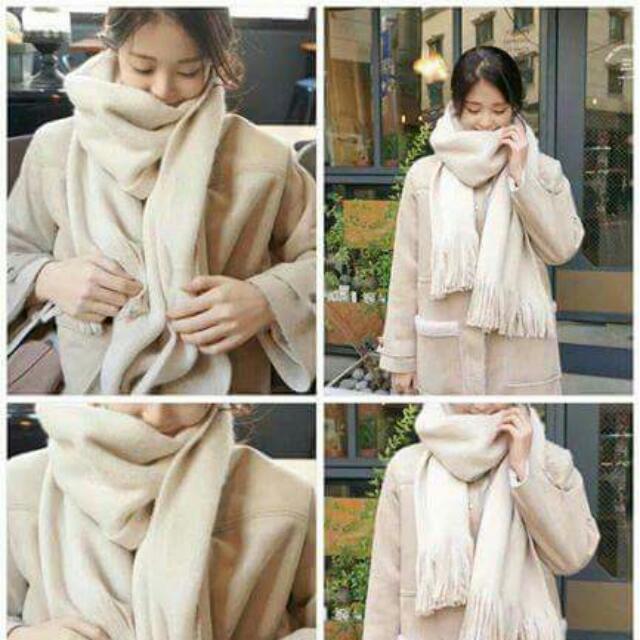 全新 基本款素色圍巾 米白