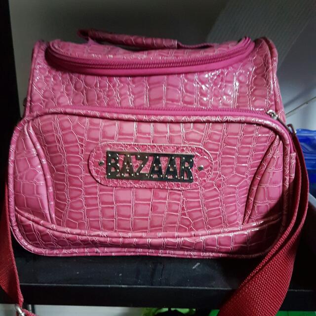 bazaar pink make up bag