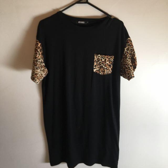 Black & Leopard Oversized T Shirt Dress