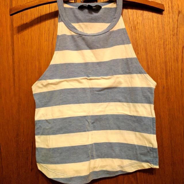 Blue And White Striped Halter Top