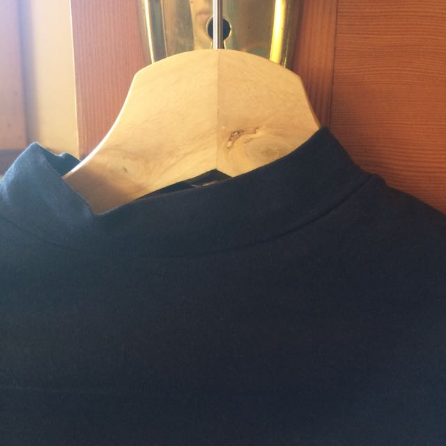 Cropped Navy High Neck Top