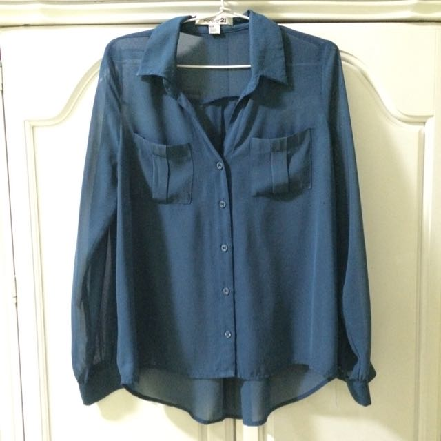 Forever 21 Navy Blouse Preloved