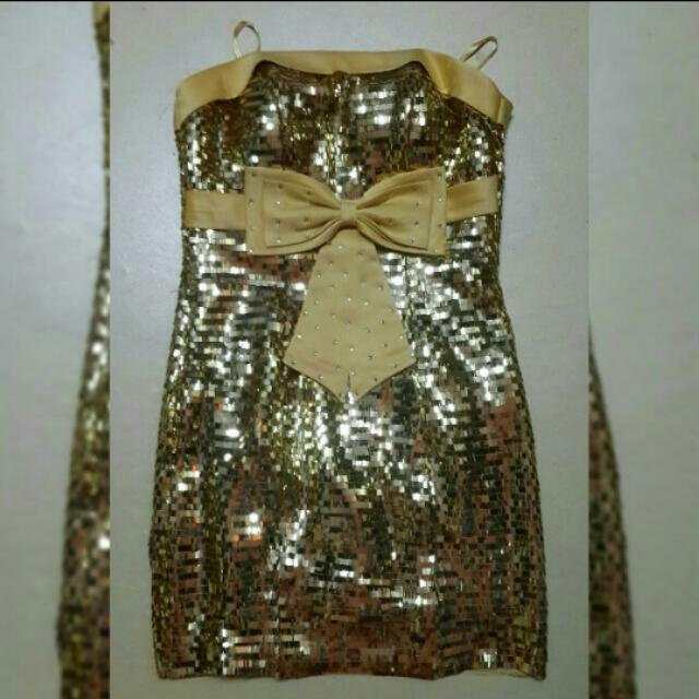 Gold sequin-silky dress