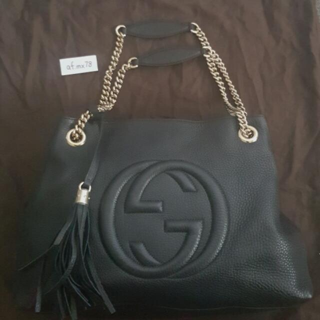 Gucci Soho Leather Shoulder Bag (Black)
