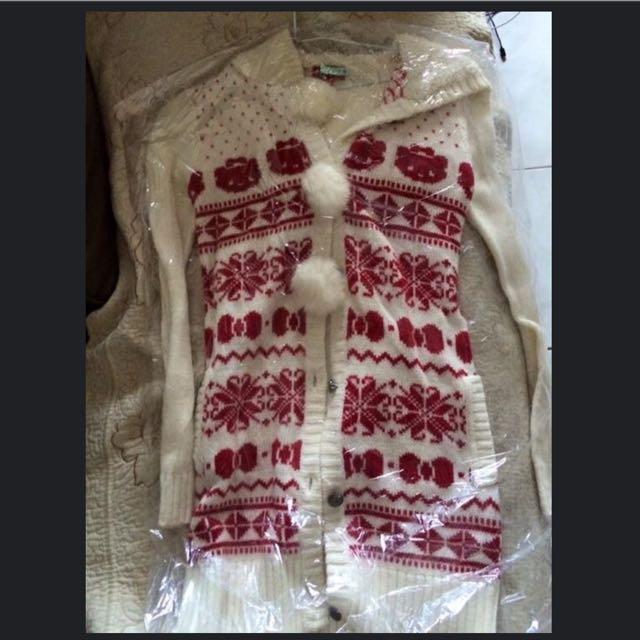Knightsbridge 內舖棉白色毛球外套
