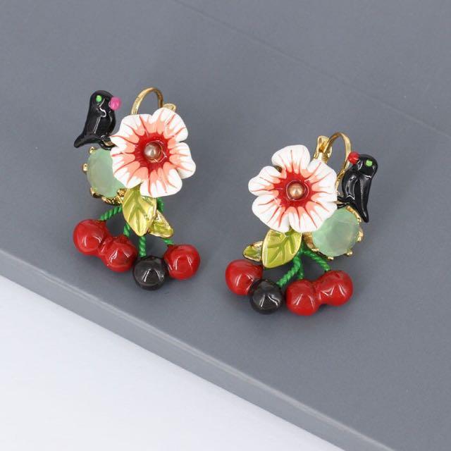 Les Nereides Bird And Cherry Earrings