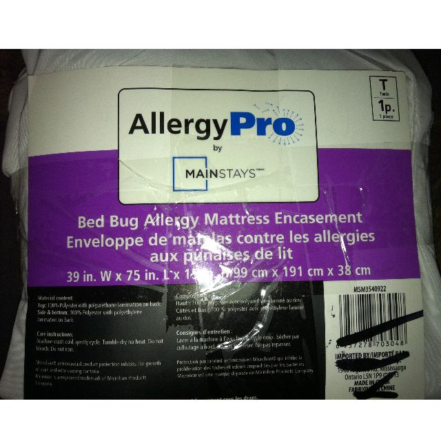 Mainstays Bed Bug Allergy Mattress Encasement - NEW - NEVER USED - OUT OF THE BAG - TWIN SIZE