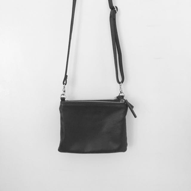 Naked Vice Cross Body Bag Black Leather