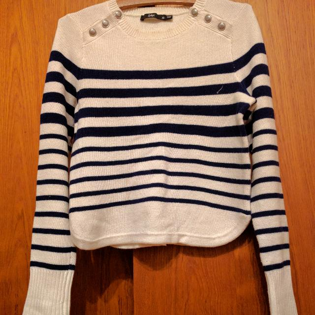 Navy Striped Sweater With Button Details