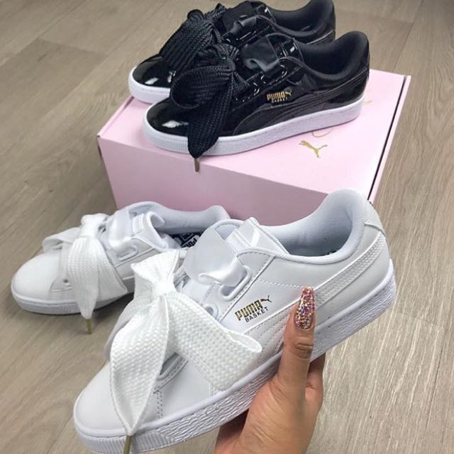 SOLD OUT  Puma Basket Heart Satin Ribbon Bow In White 71c88498d
