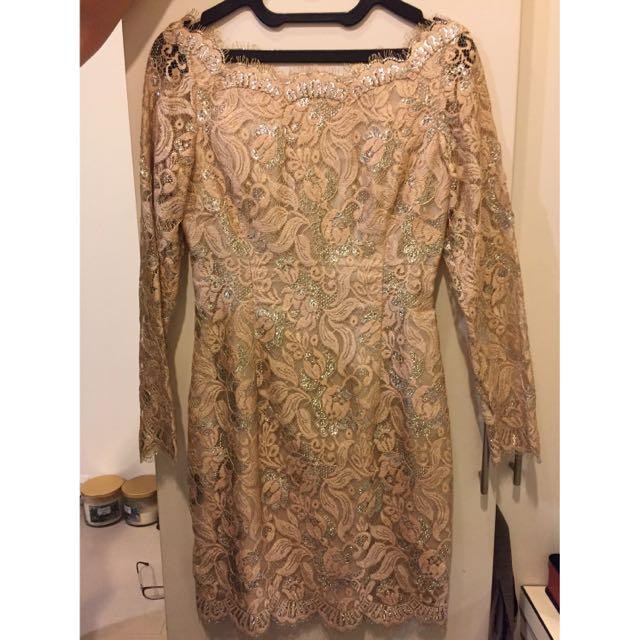 Peach Kebaya Laced Dress