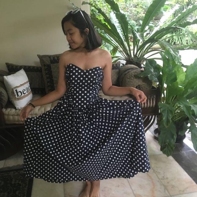Pollkadot navy tube dress by Laura Ashley