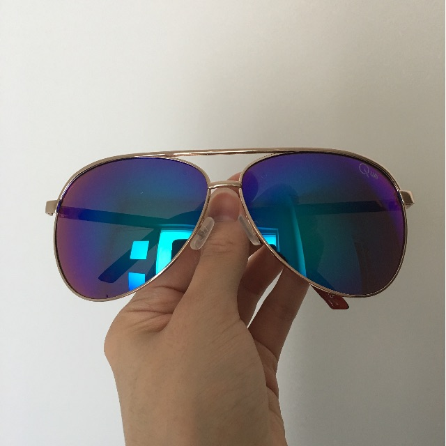 Quay Topgun Aviator Sunglasses (blue mirror)
