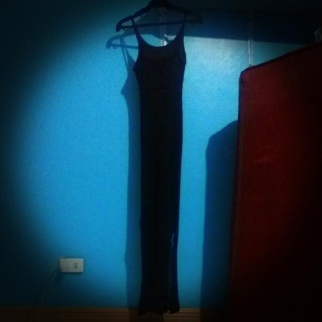 See through Black Long Dress