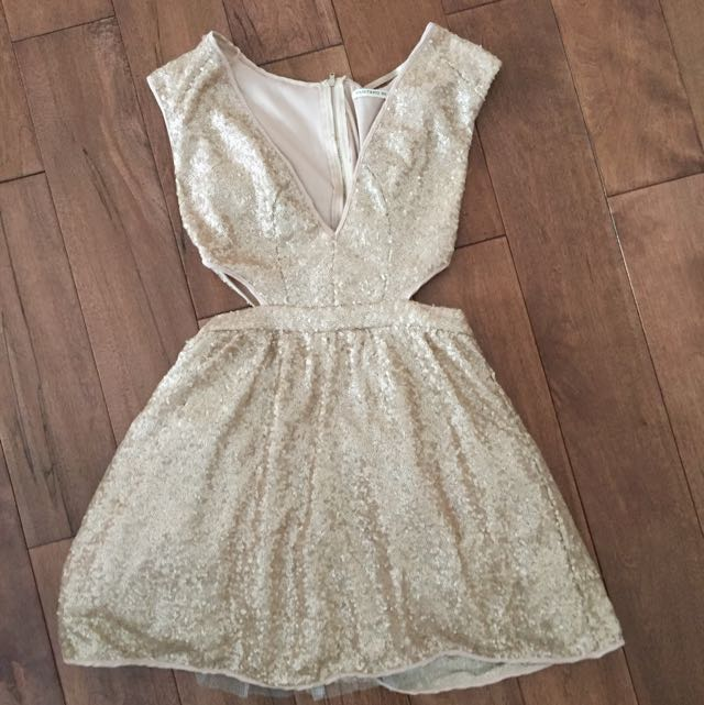 Tobi Sequinned Rose Gold Cut Out Dress