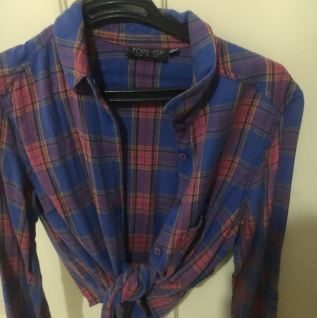 Topshop Plaid Semi Crop Top