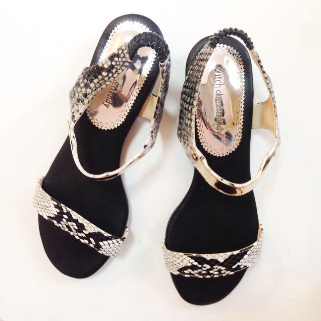 蛇紋X金屬 正韓 涼鞋